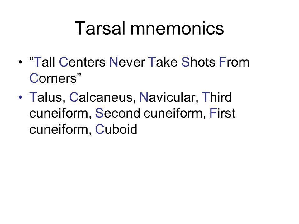 "Tarsal mnemonics ""Tall Centers Never Take Shots From Corners"" Talus, Calcaneus, Navicular, Third cuneiform, Second cuneiform, First cuneiform, Cuboid"