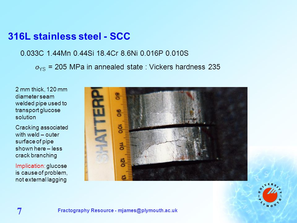 Fractography Resource - mjames@plymouth.ac.uk 7 316L stainless steel - SCC 0.033C 1.44Mn 0.44Si 18.4Cr 8.6Ni 0.016P 0.010S  YS = 205 MPa in annealed