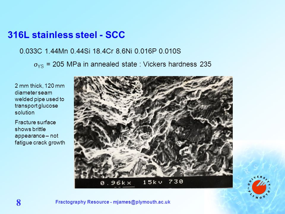 Fractography Resource - mjames@plymouth.ac.uk 8 316L stainless steel - SCC 0.033C 1.44Mn 0.44Si 18.4Cr 8.6Ni 0.016P 0.010S  YS = 205 MPa in annealed