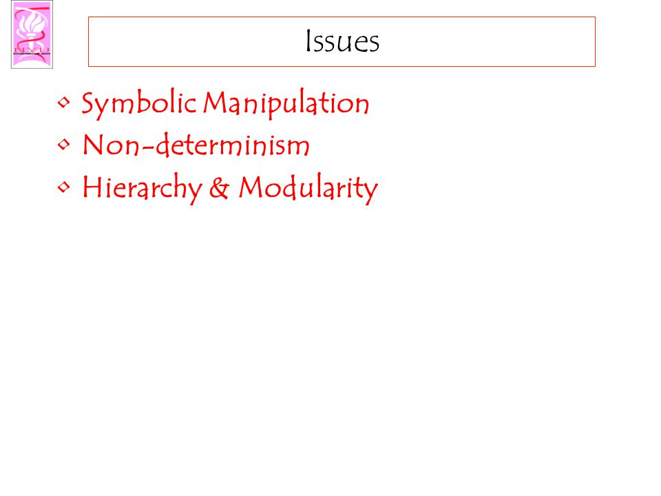 Issues Symbolic Manipulation Non-determinism Hierarchy & Modularity