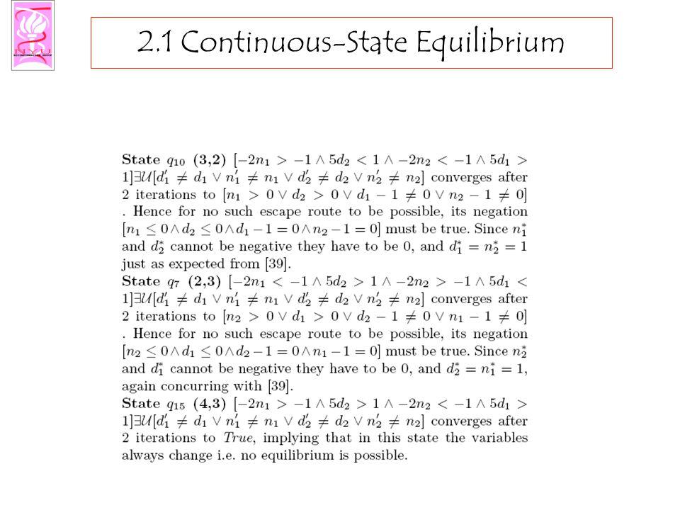 2.1 Continuous-State Equilibrium