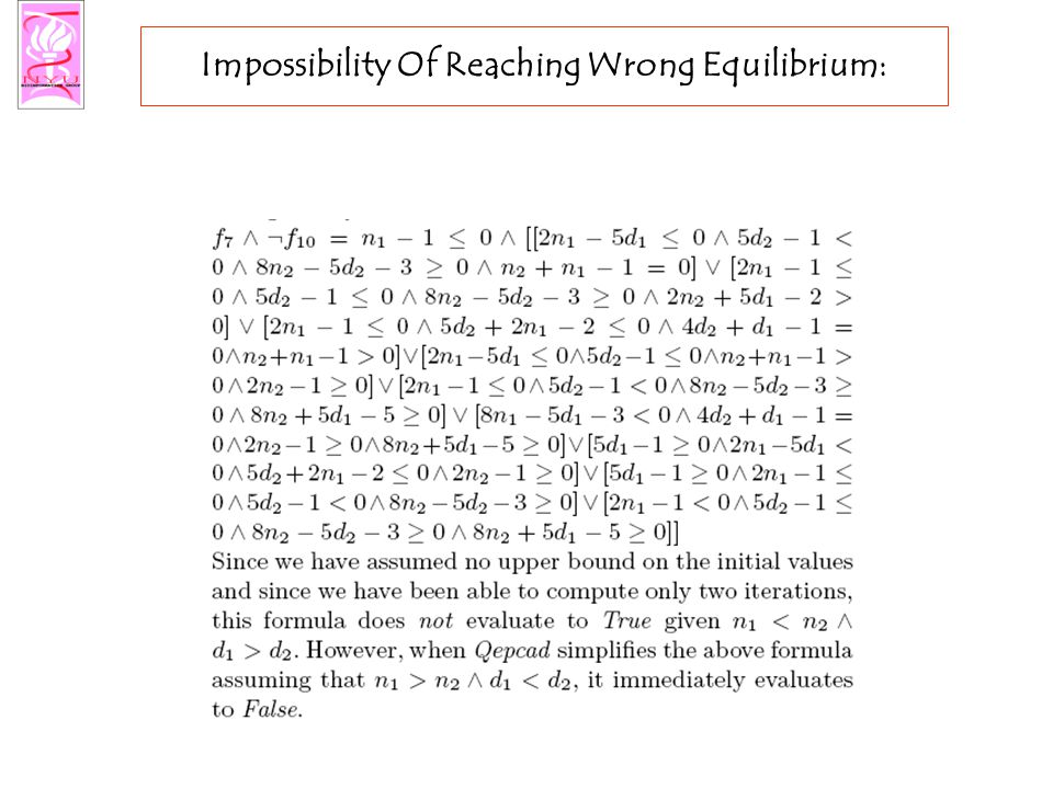 Impossibility Of Reaching Wrong Equilibrium: