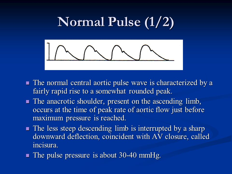 Normal Pulse (1/2) The normal central aortic pulse wave is characterized by a fairly rapid rise to a somewhat rounded peak. The normal central aortic