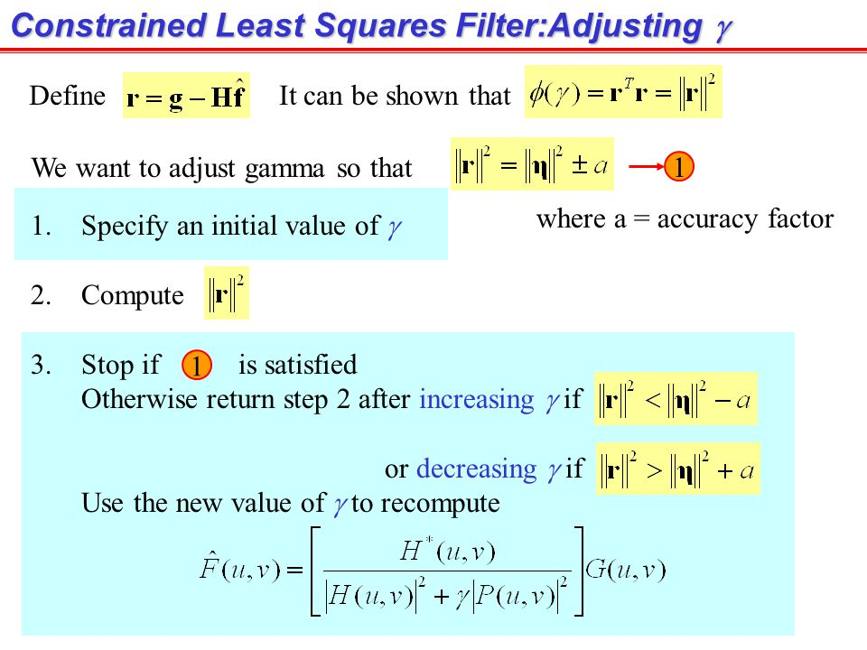 Constrained Least Squares Filter: Example (cont.) Image degraded by motion blur + AWGN Result of the Constrained Least square filter Result of the Wie