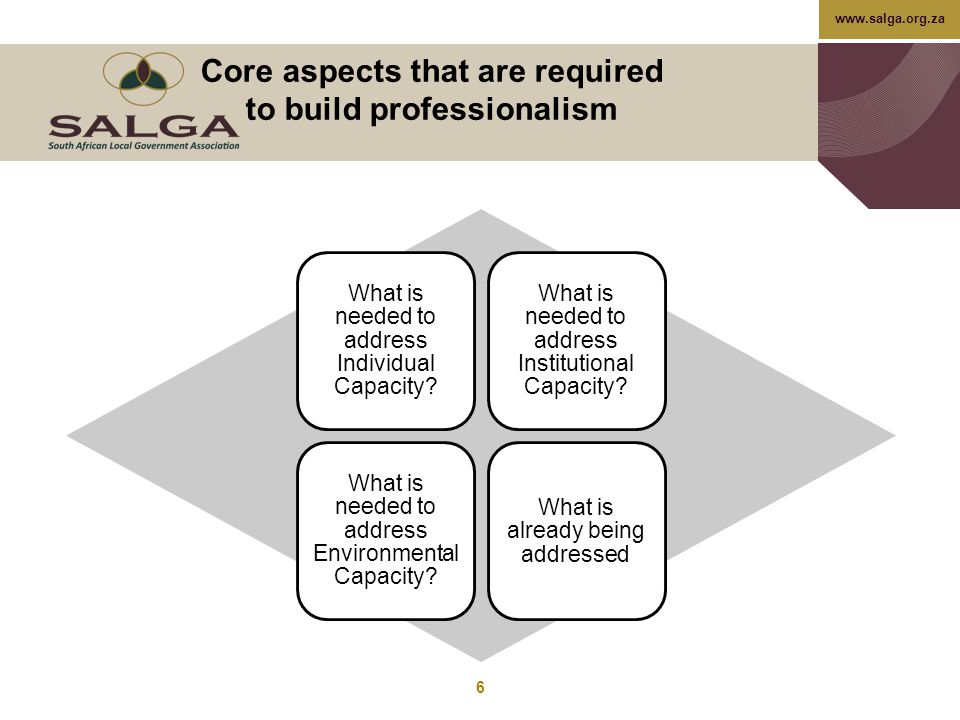 www.salga.org.za Core aspects that are required to build professionalism What is needed to address Individual Capacity? What is needed to address Inst