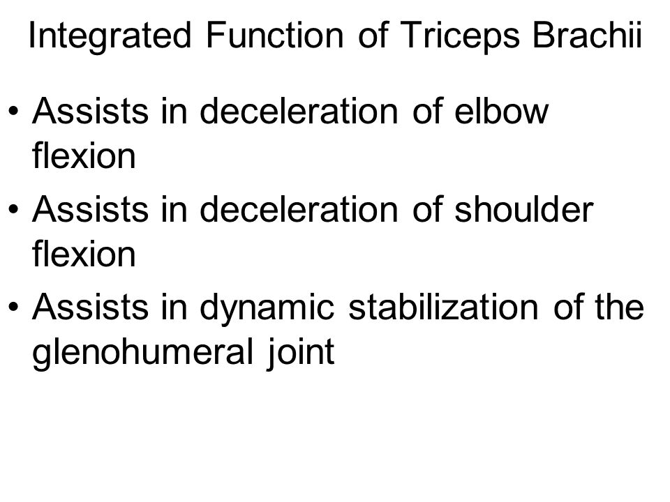Integrated Function of Triceps Brachii Assists in deceleration of elbow flexion Assists in deceleration of shoulder flexion Assists in dynamic stabili