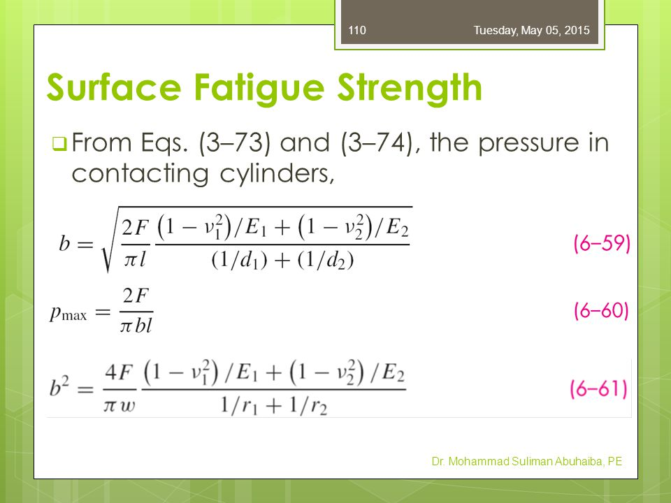  From Eqs. (3–73) and (3–74), the pressure in contacting cylinders, Dr. Mohammad Suliman Abuhaiba, PE Tuesday, May 05, 2015110 Surface Fatigue Streng
