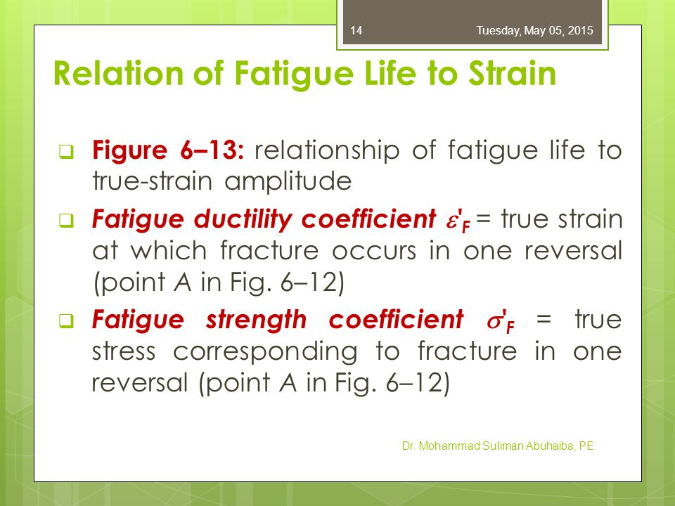 Relation of Fatigue Life to Strain  Figure 6–13: relationship of fatigue life to true-strain amplitude  Fatigue ductility coefficient  ' F = true s