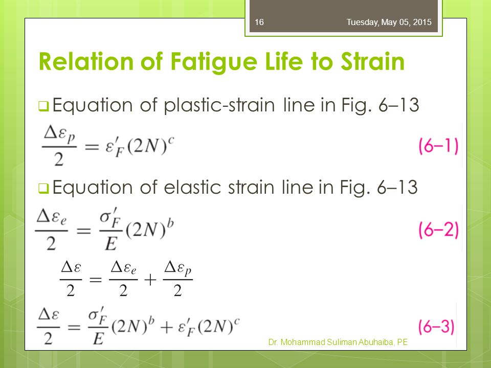  Equation of plastic-strain line in Fig. 6–13  Equation of elastic strain line in Fig. 6–13 Dr. Mohammad Suliman Abuhaiba, PE Tuesday, May 05, 20151