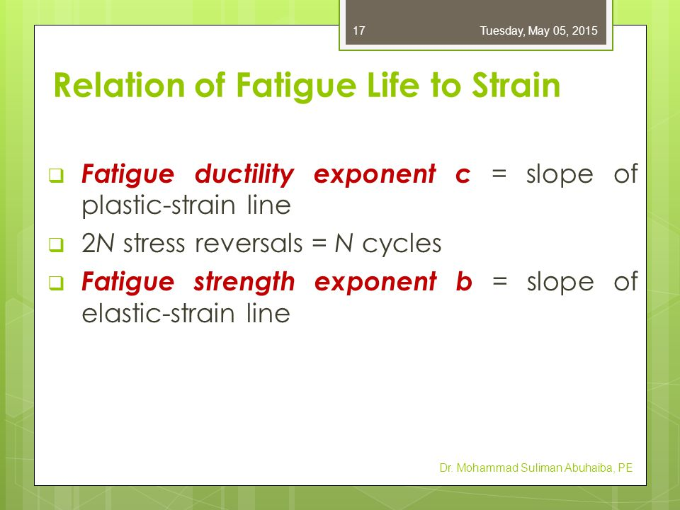  Fatigue ductility exponent c = slope of plastic-strain line  2N stress reversals = N cycles  Fatigue strength exponent b = slope of elastic-strain