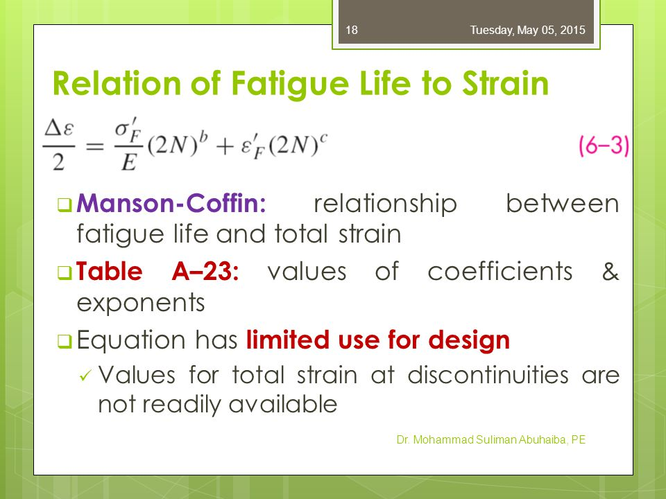  Manson-Coffin: relationship between fatigue life and total strain  Table A–23: values of coefficients & exponents  Equation has limited use for de