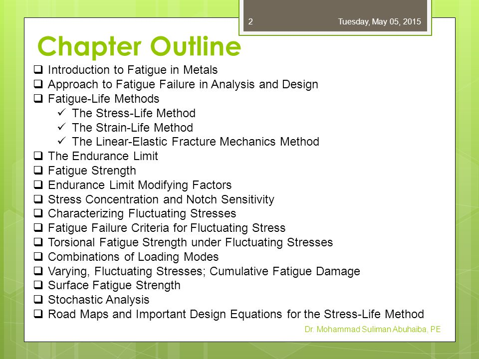 Chapter Outline Dr. Mohammad Suliman Abuhaiba, PE  Introduction to Fatigue in Metals  Approach to Fatigue Failure in Analysis and Design  Fatigue-L