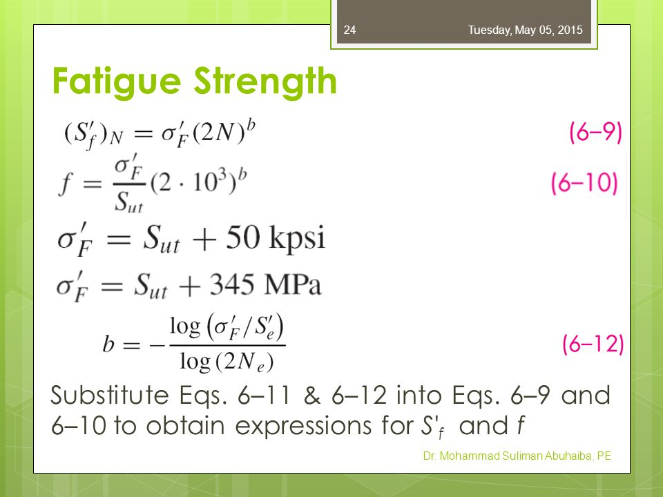 Fatigue Strength Substitute Eqs. 6–11 & 6–12 into Eqs. 6–9 and 6–10 to obtain expressions for S' f and f Dr. Mohammad Suliman Abuhaiba, PE Tuesday, Ma