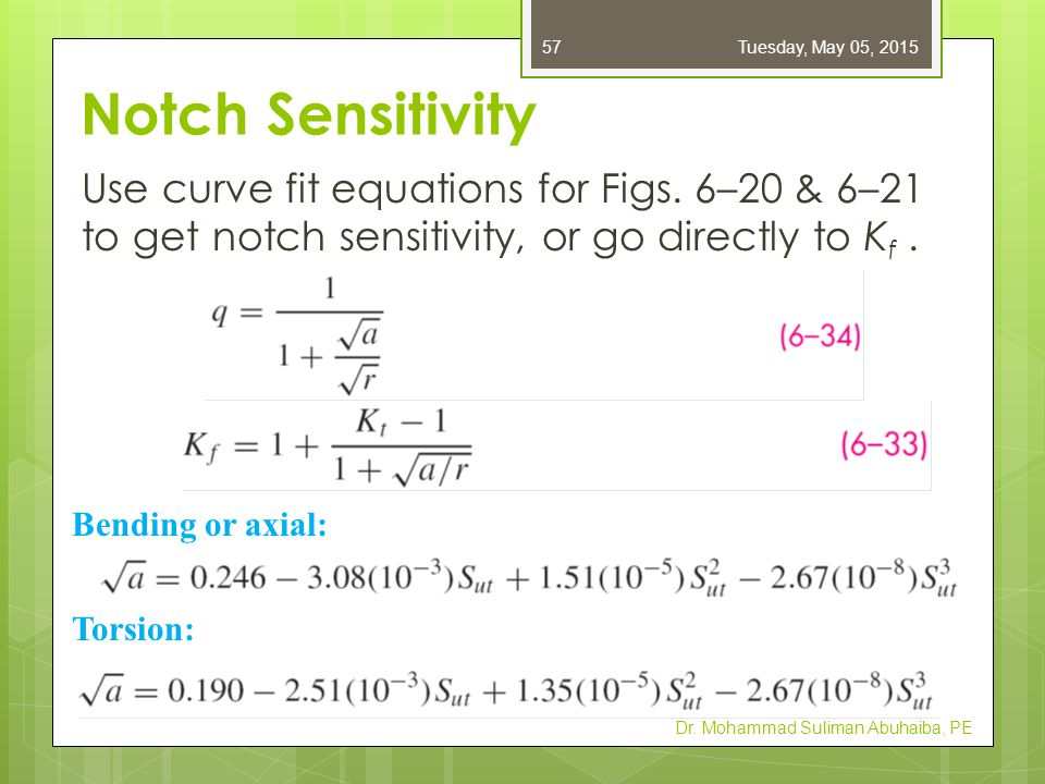 Notch Sensitivity Use curve fit equations for Figs. 6–20 & 6–21 to get notch sensitivity, or go directly to K f. Dr. Mohammad Suliman Abuhaiba, PE Ben