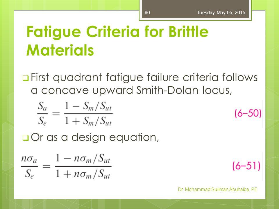 Fatigue Criteria for Brittle Materials  First quadrant fatigue failure criteria follows a concave upward Smith-Dolan locus,  Or as a design equation