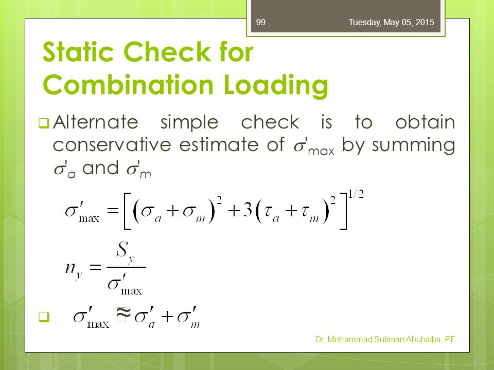 Static Check for Combination Loading  Alternate simple check is to obtain conservative estimate of  ' max by summing  ' a and  ' m  ≈ Dr. Mohamma
