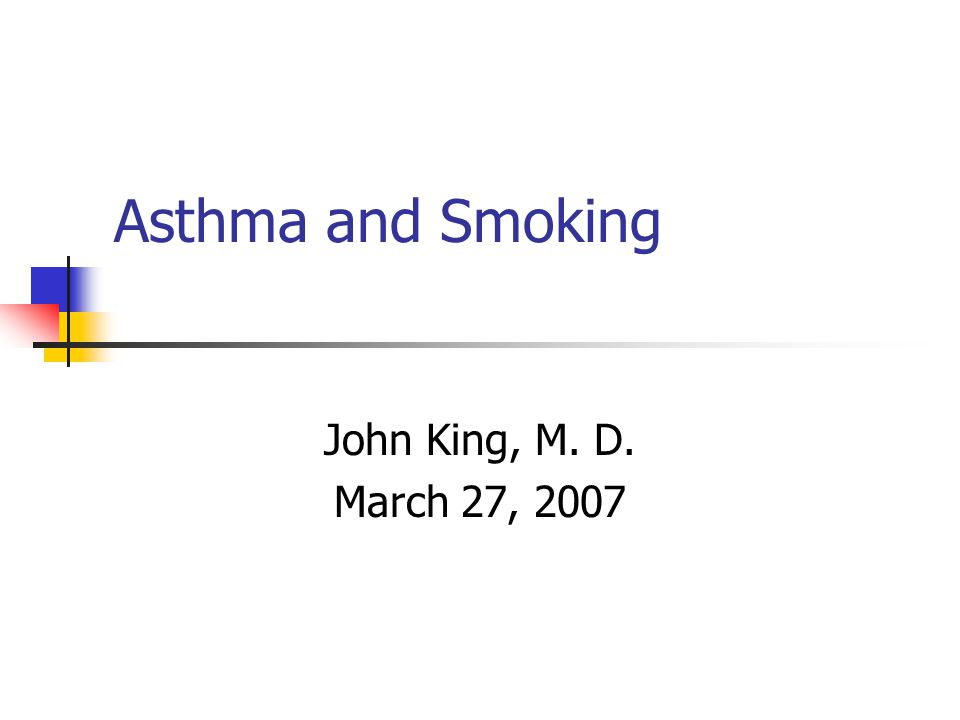 Asthma and Smoking Death From Cancer of Lung in White Males In U.S.