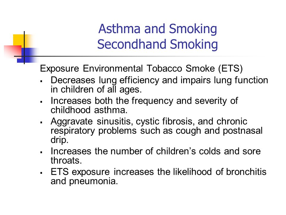 Asthma and Smoking Secondhand Smoking Exposure Environmental Tobacco Smoke (ETS)  Decreases lung efficiency and impairs lung function in children of all ages.