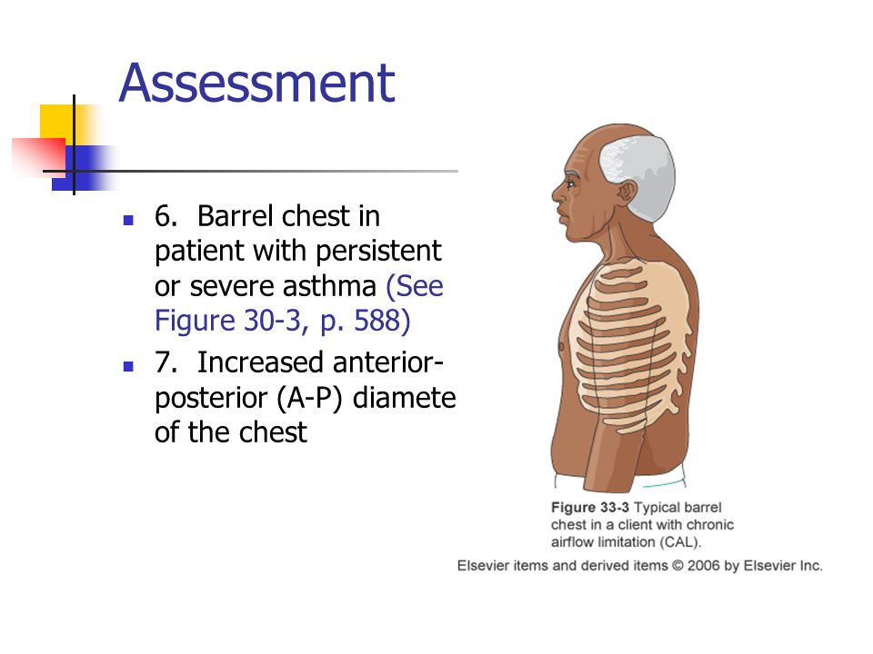 Assessment 6. Barrel chest in patient with persistent or severe asthma (See Figure 30-3, p.
