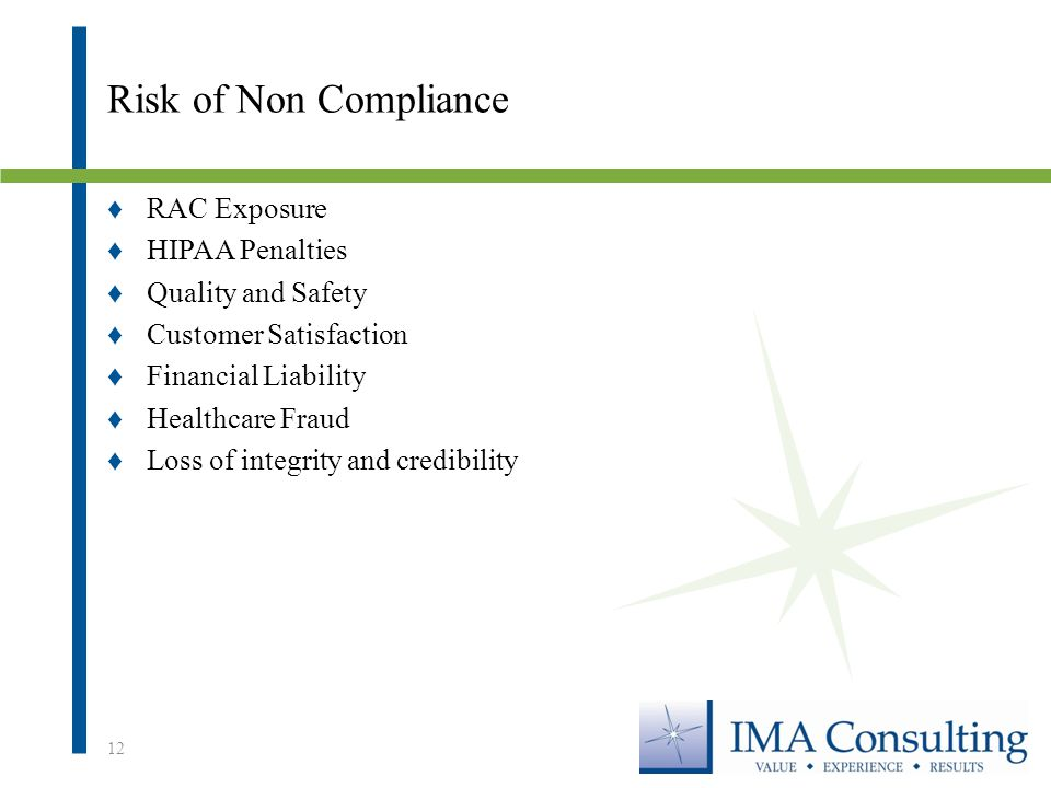 Risk of Non Compliance ♦RAC Exposure ♦HIPAA Penalties ♦Quality and Safety ♦Customer Satisfaction ♦Financial Liability ♦Healthcare Fraud ♦Loss of integrity and credibility 12
