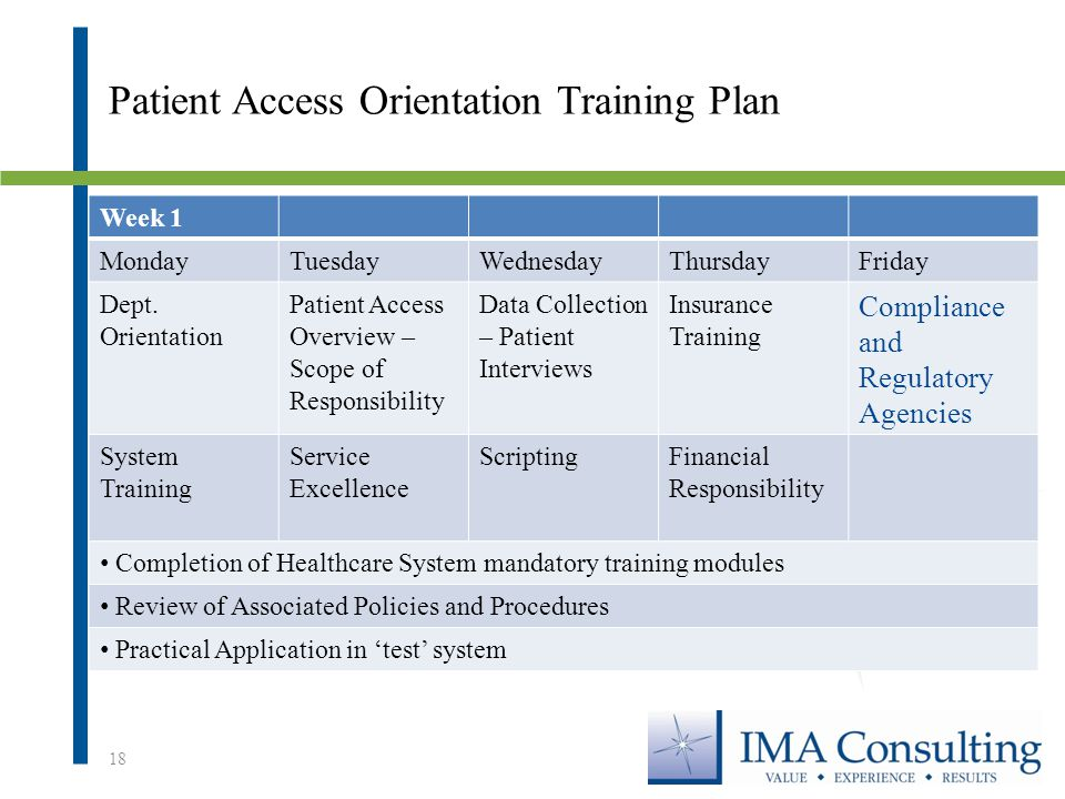 Patient Access Orientation Training Plan Week 1 MondayTuesdayWednesdayThursdayFriday Dept.