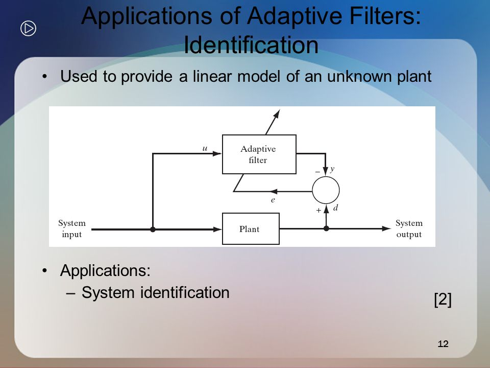 12 Applications of Adaptive Filters: Identification Used to provide a linear model of an unknown plant Applications: –System identification [2]