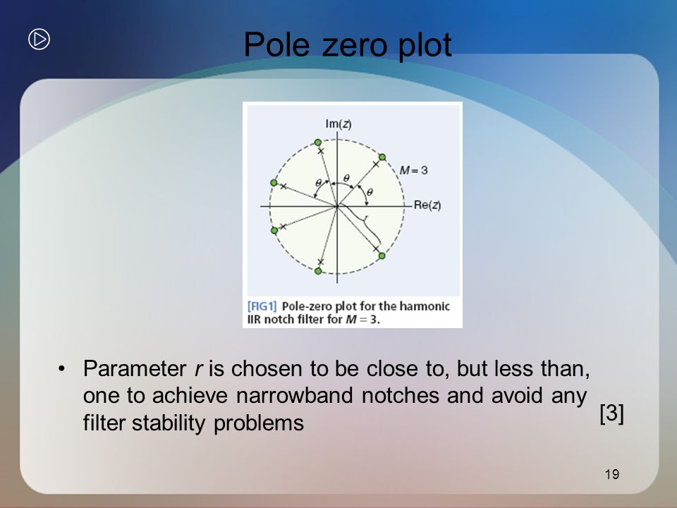 Pole zero plot 19 Parameter r is chosen to be close to, but less than, one to achieve narrowband notches and avoid any filter stability problems [3]