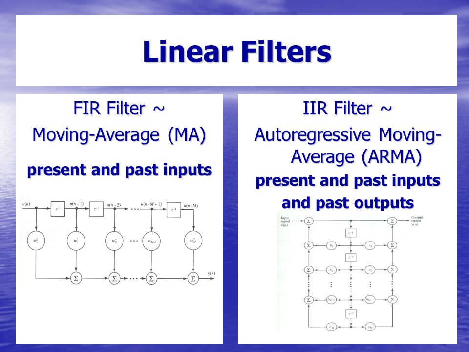 Linear Filters FIR Filter ~ Moving-Average (MA) present and past inputs IIR Filter ~ Autoregressive Moving- Average (ARMA) present and past inputs and past outputs