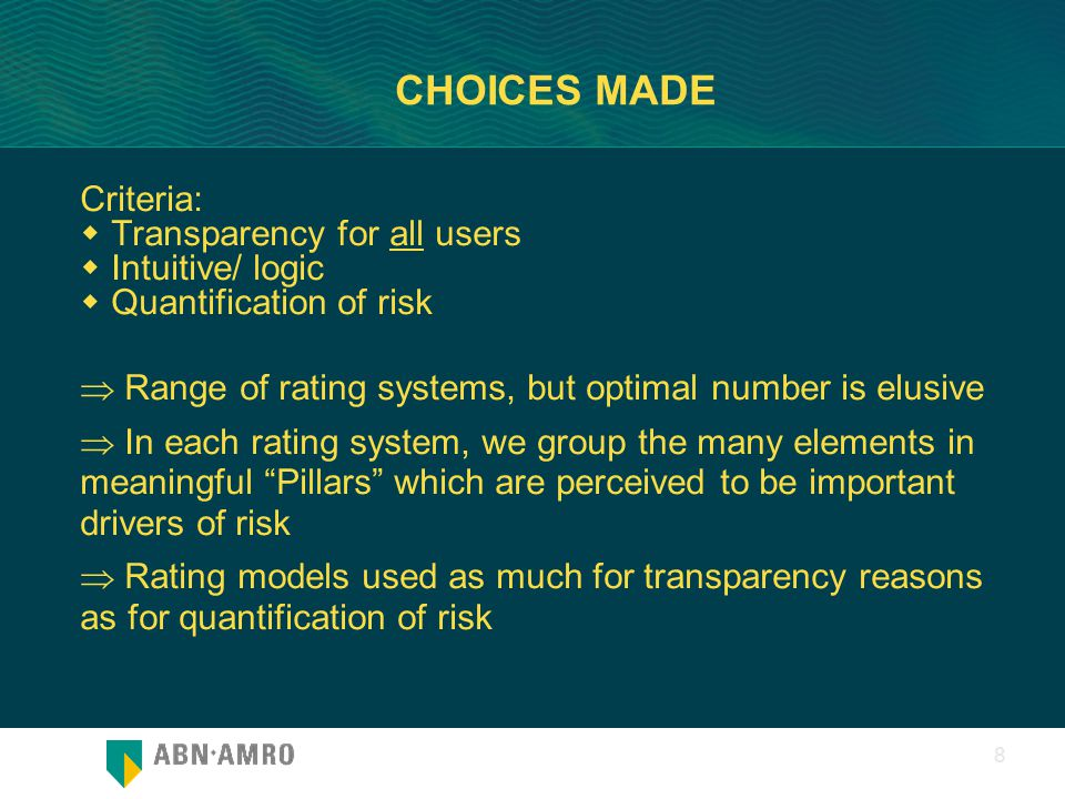 0 8 CHOICES MADE Criteria:  Transparency for all users  Intuitive/ logic  Quantification of risk  Range of rating systems, but optimal number is e