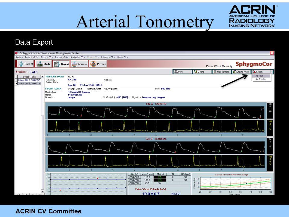 ACRIN CV Committee Data Export Arterial Tonometry