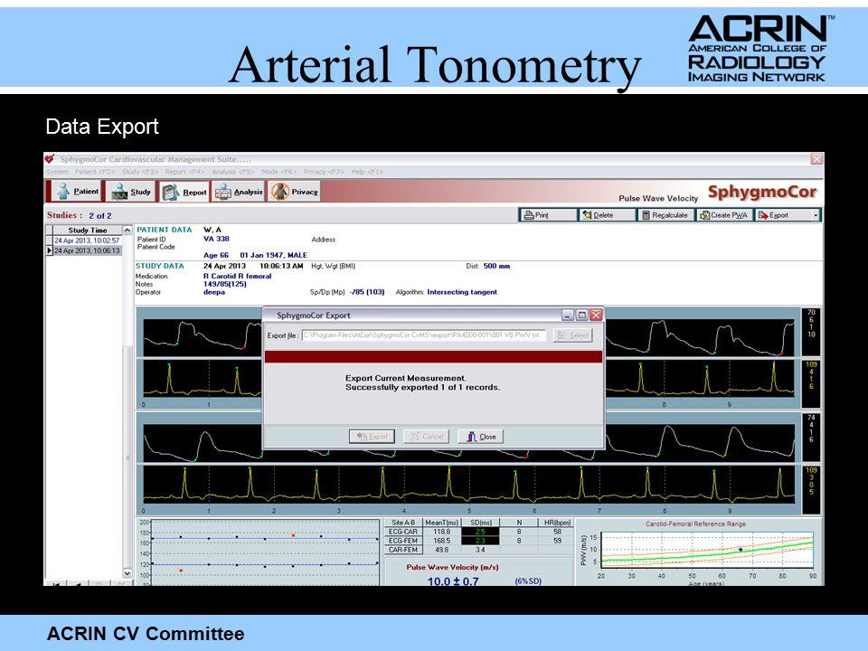 ACRIN CV Committee Arterial Tonometry Data Export