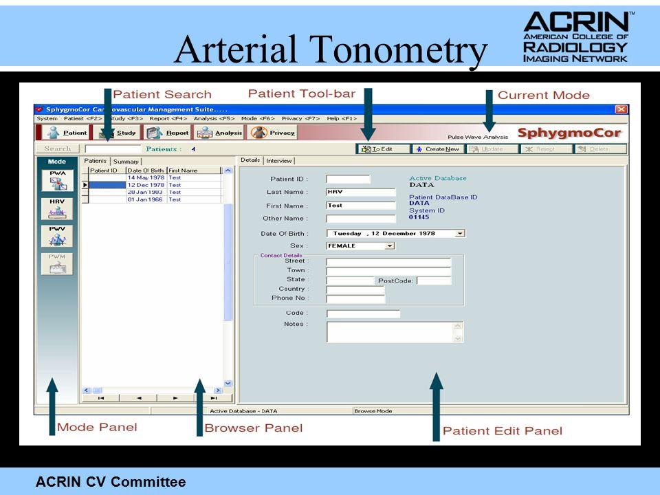 ACRIN CV Committee Arterial Tonometry