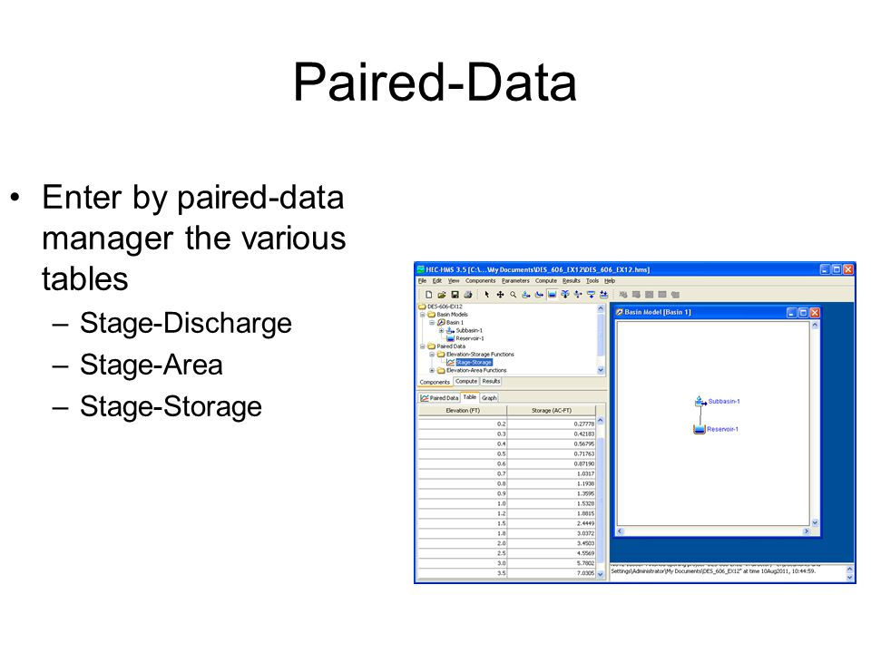 Paired-Data Enter by paired-data manager the various tables –Stage-Discharge –Stage-Area –Stage-Storage