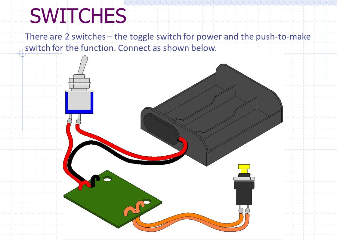 There are 2 switches – the toggle switch for power and the push-to-make switch for the function.