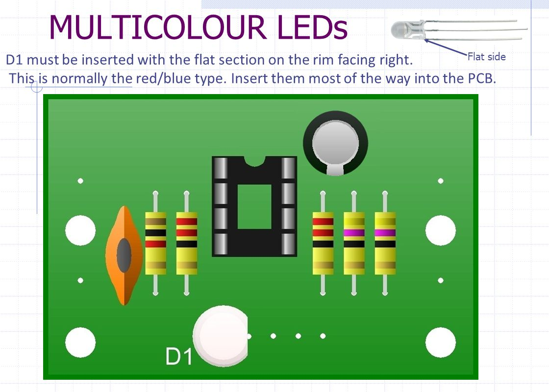 MULTICOLOUR LEDs D1 must be inserted with the flat section on the rim facing right.