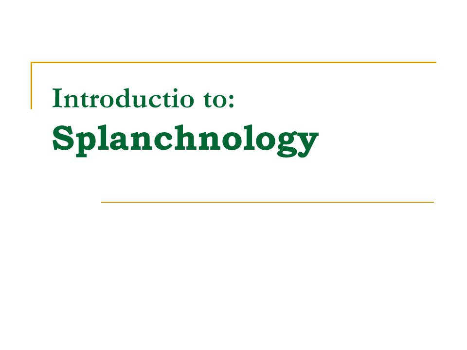 Introductio to: Splanchnology