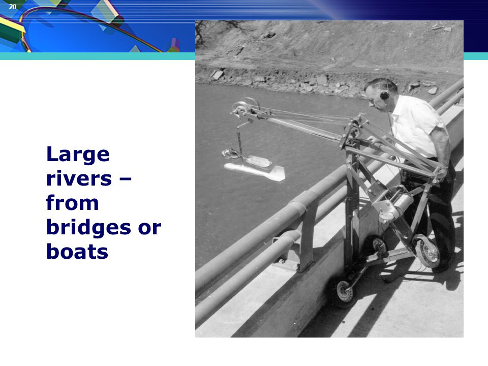 20 Discharge (Q) Measurement Large rivers – from bridges or boats