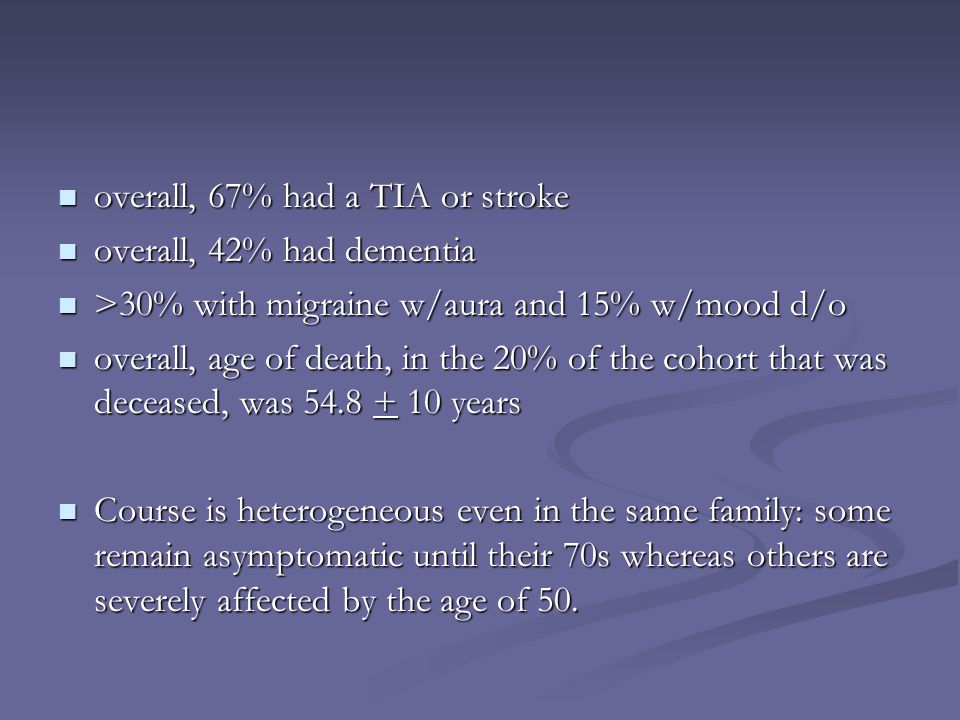 overall, 67% had a TIA or stroke overall, 67% had a TIA or stroke overall, 42% had dementia overall, 42% had dementia >30% with migraine w/aura and 15