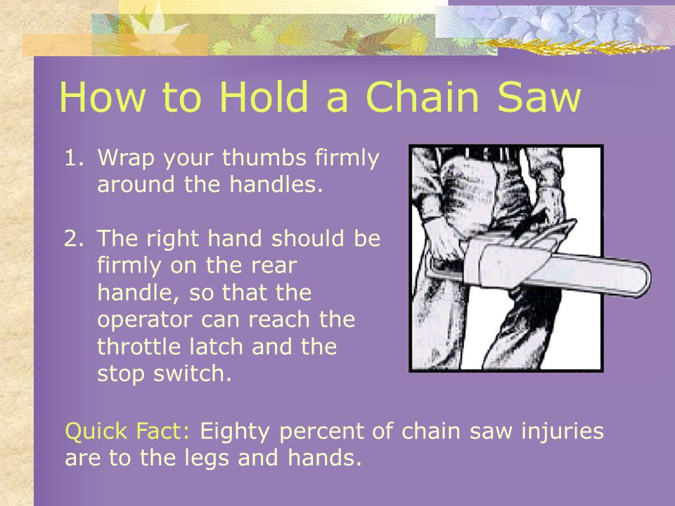 How to Hold a Chain Saw 1.Wrap your thumbs firmly around the handles.