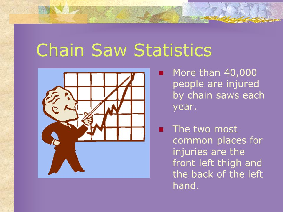 Safety Tips Keep the chain saw handle clean and dry.