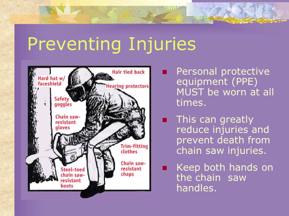 Preventing Injuries Personal protective equipment (PPE) MUST be worn at all times.