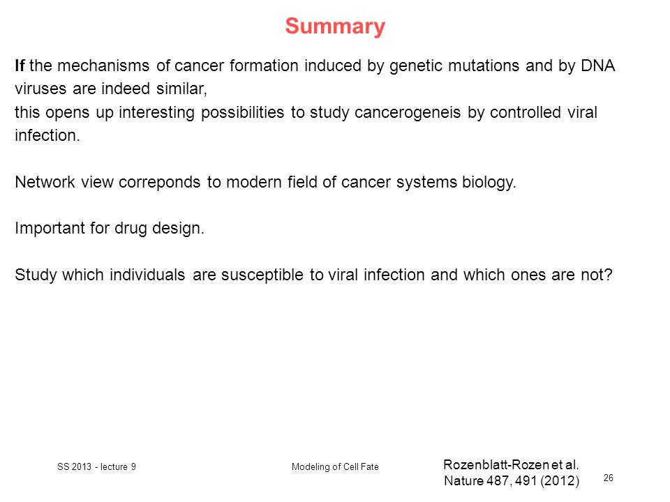 Summary SS 2013 - lecture 9 26 Modeling of Cell Fate Rozenblatt-Rozen et al.
