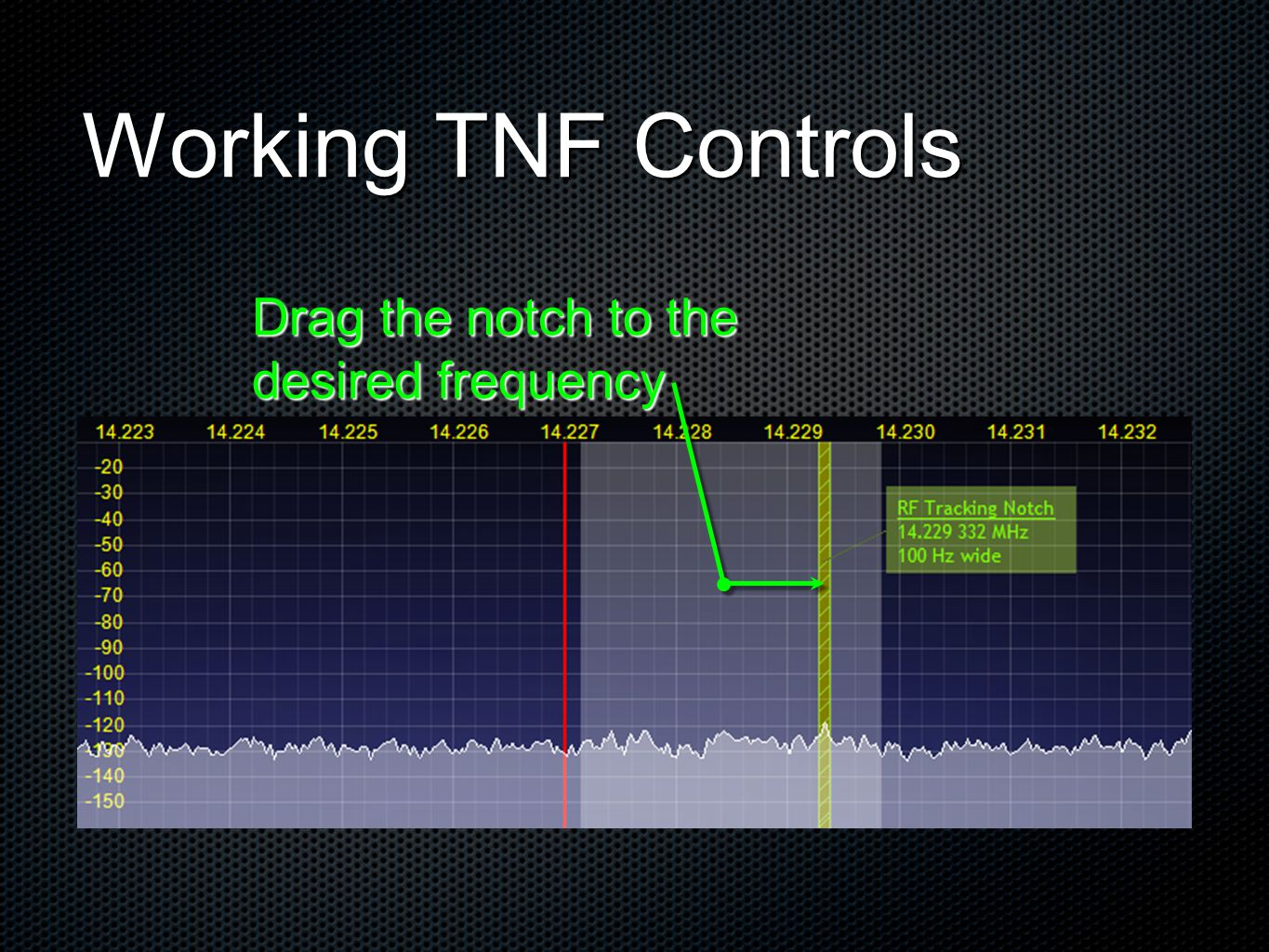 Working TNF Controls Drag the notch to the desired frequency