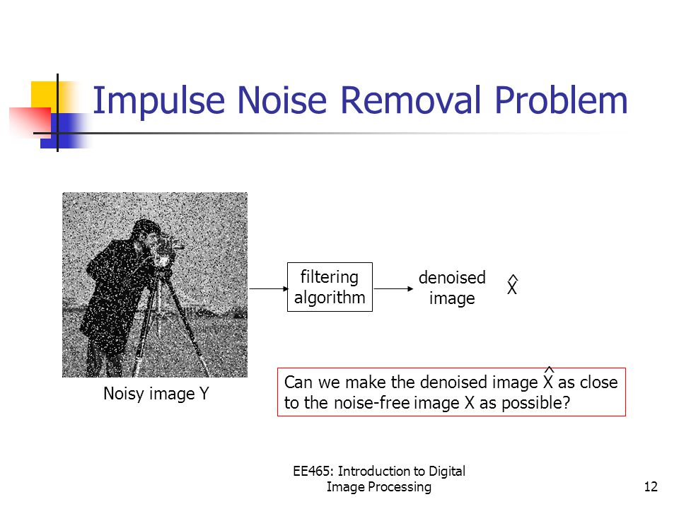 EE465: Introduction to Digital Image Processing12 Impulse Noise Removal Problem Noisy image Y filtering algorithm Can we make the denoised image X as close to the noise-free image X as possible.