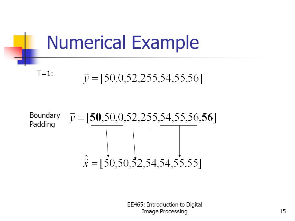 EE465: Introduction to Digital Image Processing15 Numerical Example T=1: Boundary Padding