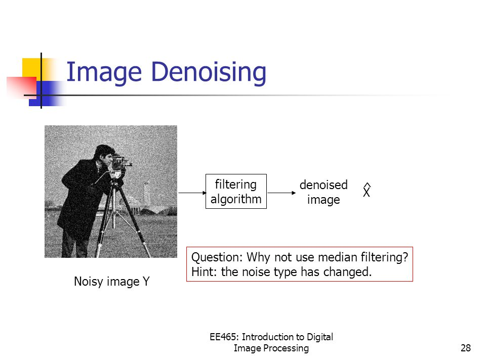 EE465: Introduction to Digital Image Processing28 Image Denoising Noisy image Y filtering algorithm Question: Why not use median filtering.