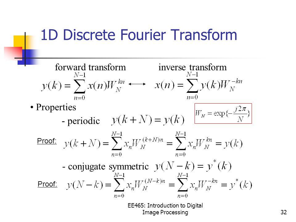 EE465: Introduction to Digital Image Processing32 forward transforminverse transform Properties - periodic - conjugate symmetric 1D Discrete Fourier Transform Proof: