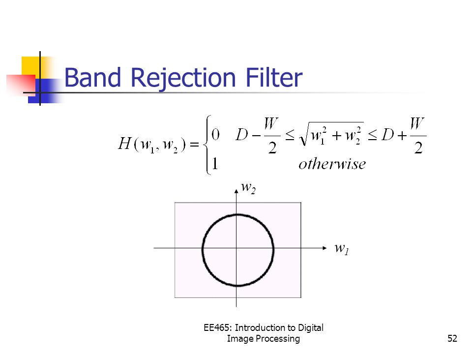 EE465: Introduction to Digital Image Processing52 Band Rejection Filter w1w1 w2w2