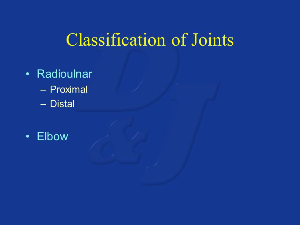 Classification of Joints Radioulnar –Proximal –Distal Elbow