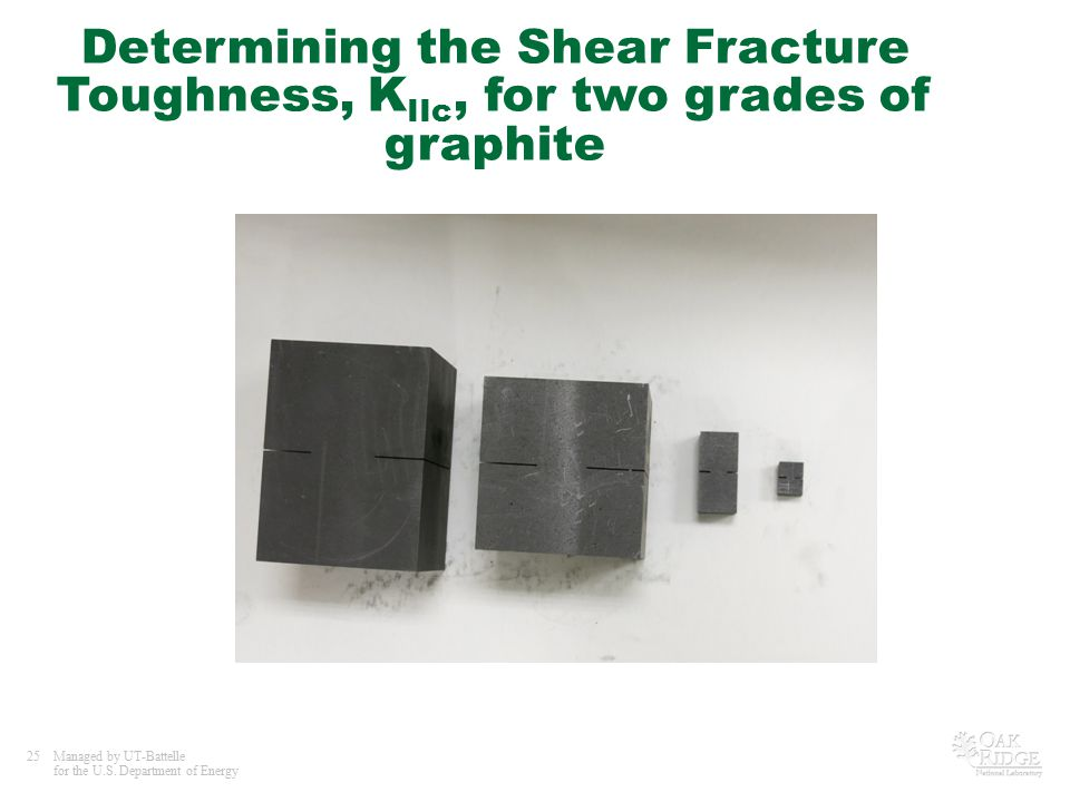 25Managed by UT-Battelle for the U.S. Department of Energy Determining the Shear Fracture Toughness, K IIc, for two grades of graphite